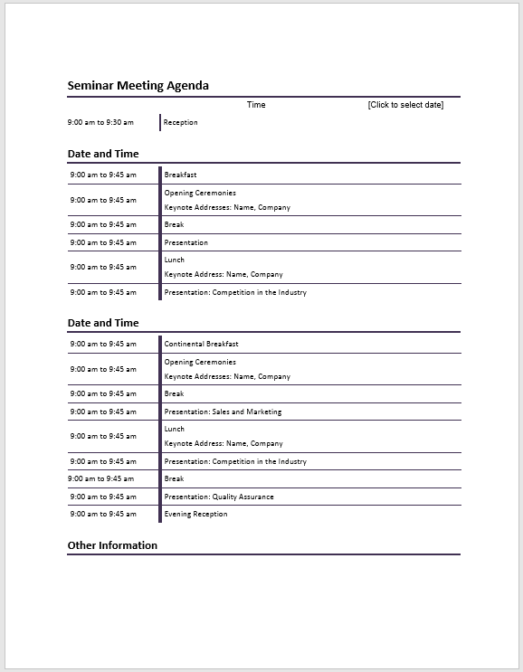 seminar meeting agenda template meeting agenda templates