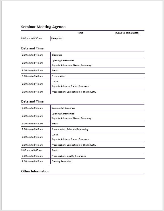 Seminar Meeting Agenda Template - Meeting Agenda Templates